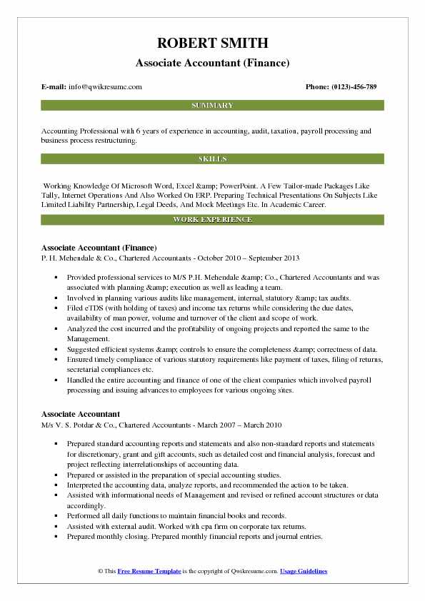 associate accountant resume samples qwikresume of experienced chartered pdf truck driver Resume Resume Of Experienced Chartered Accountant