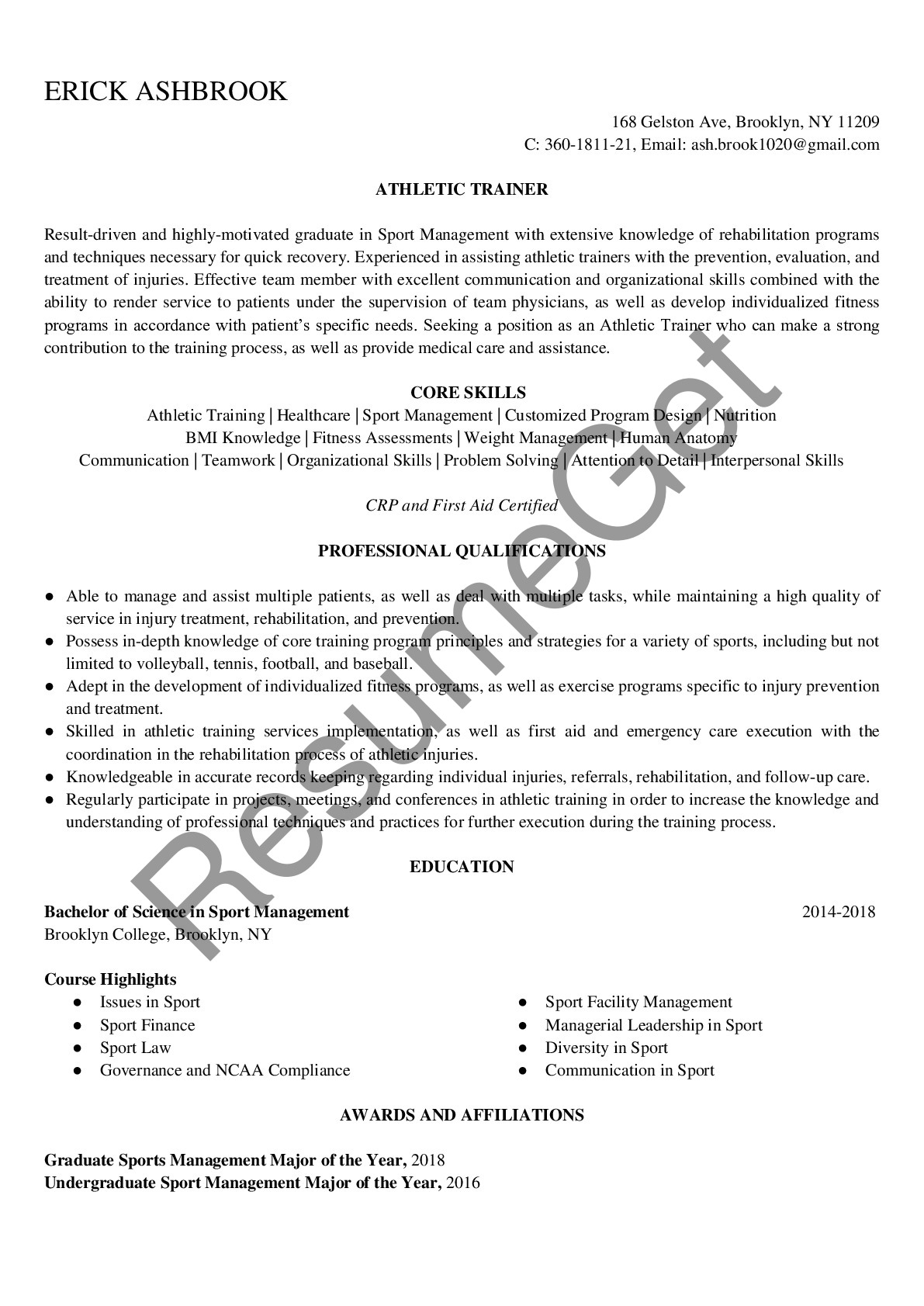 athletic trainer resume examples resumeget sample financial services professional are Resume Athletic Trainer Resume Sample