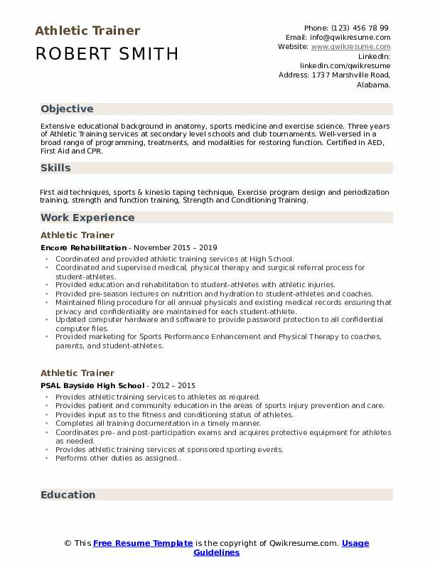 athletic trainer resume samples qwikresume sample pdf college education on firefighter Resume Athletic Trainer Resume Sample