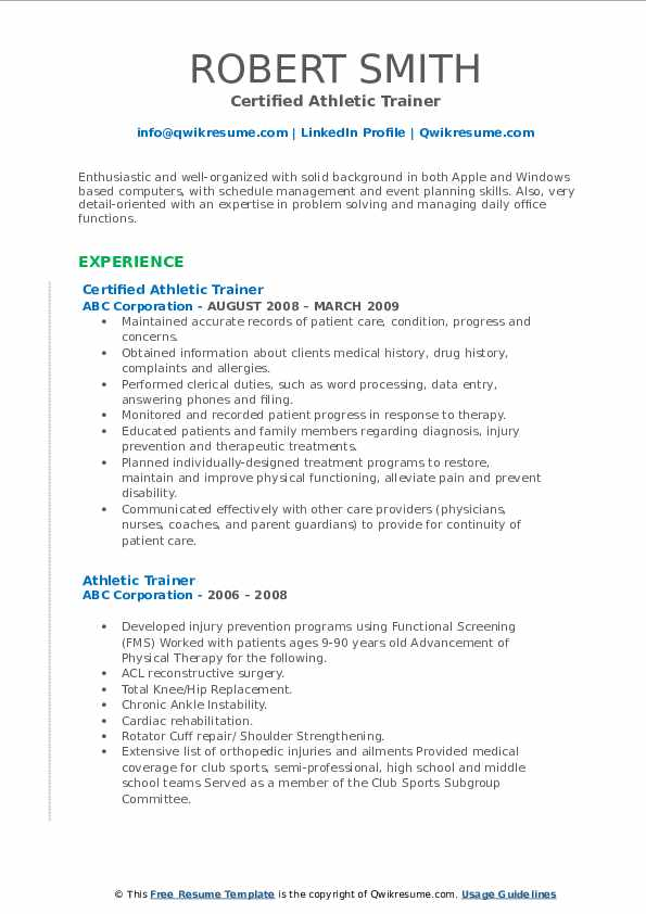 athletic trainer resume samples qwikresume sample pdf nursing assistant duties for Resume Athletic Trainer Resume Sample