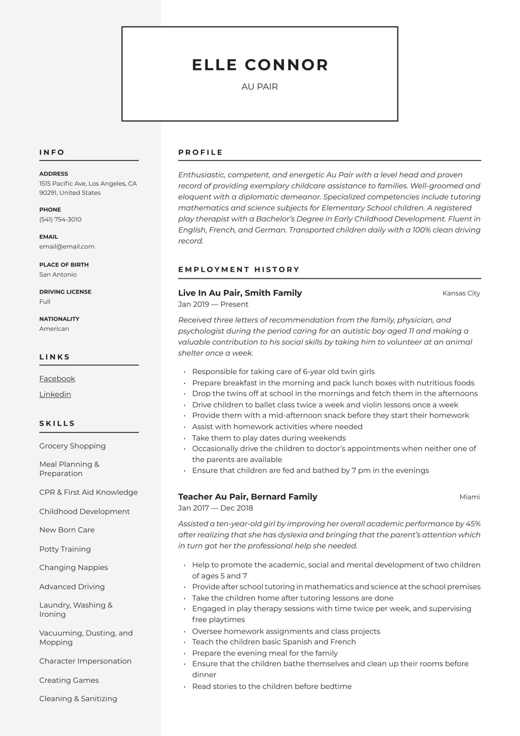 au pair resume writing guide templates australian style examples cater waiter graduate Resume Resume Writing Australian Style Examples