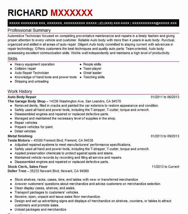 auto body repair resume example repairer resumes livecareer automotive paint technician Resume Automotive Paint Technician Resume