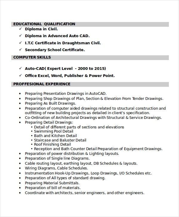 autocad resume template free word pdf document downloads premium templates drafter Resume Cad Drafter Resume Example