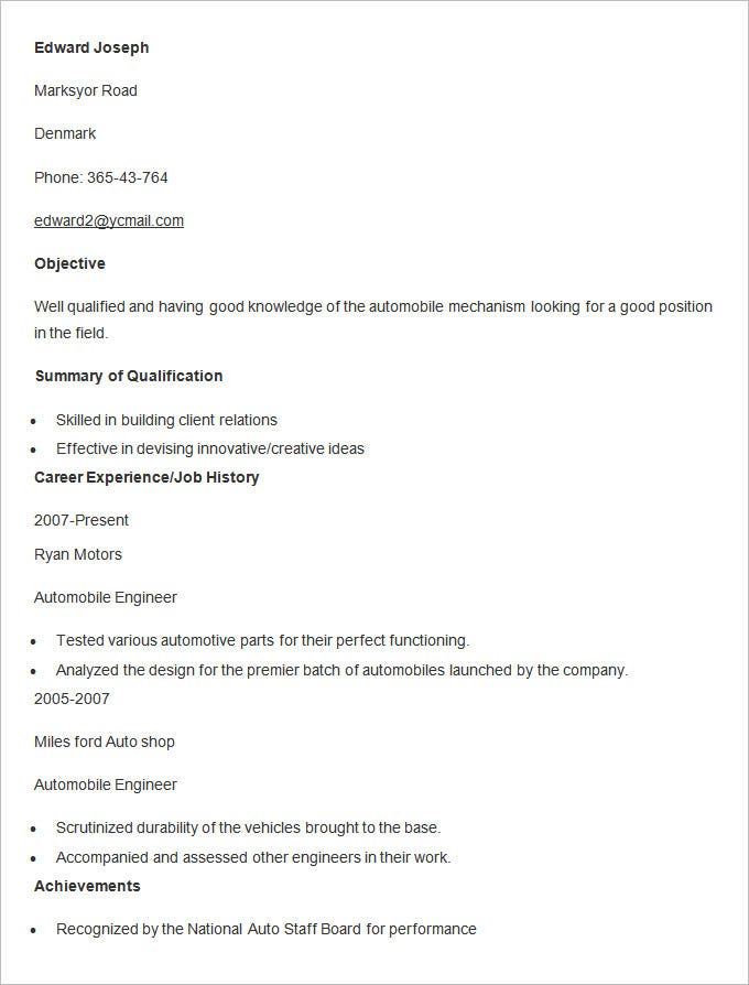 automobile resume templates free word pdf documents premium format for freshers engineer Resume Automobile Resume Format For Freshers
