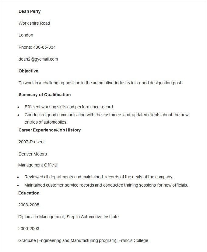 automobile resume templates free word pdf documents premium format for freshers manager Resume Automobile Resume Format For Freshers