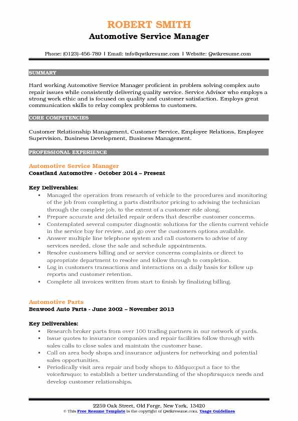 automotive service manager resume samples qwikresume industry sample pdf absolutely free Resume Automotive Industry Resume Sample