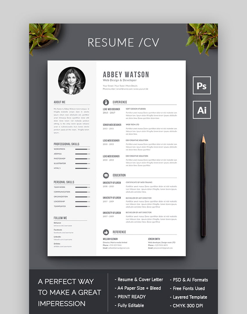 awesome resume cv templates with beautiful layout designs fun free graphicriver dance Resume Fun Resume Templates Free