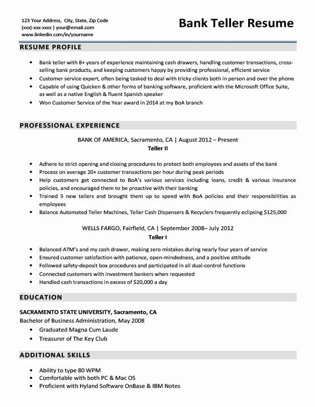 bank job description for resume fresh sample writing tips in examples manual testing Resume Bank Teller Resume 2020