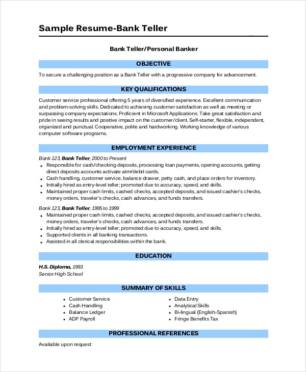 bank resume template free word excel pdf documents premium templates personal banker Resume Bank Teller Resume 2020