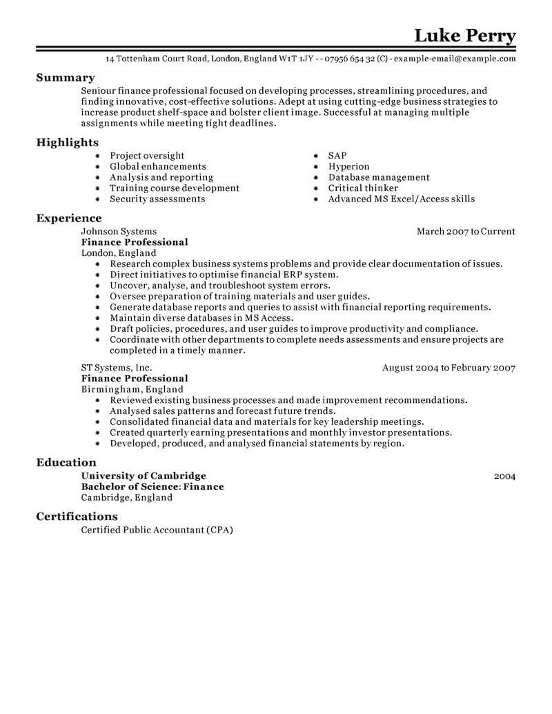 banking and financial services resume template for microsoft word livecareer finance Resume Financial Services Resume