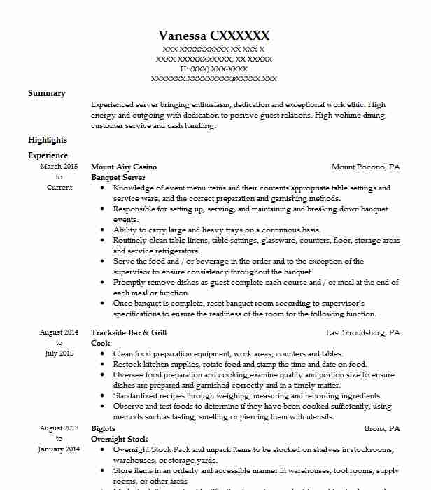 banquet server resume example resumes misc livecareer restaurant objective build Resume Restaurant Resume Objective