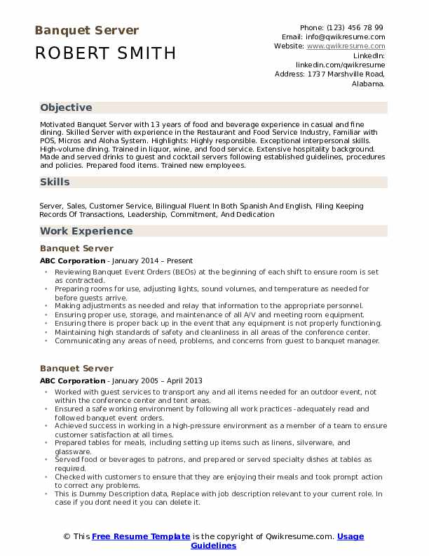 banquet server resume samples qwikresume restaurant objective pdf platform classroom Resume Restaurant Resume Objective