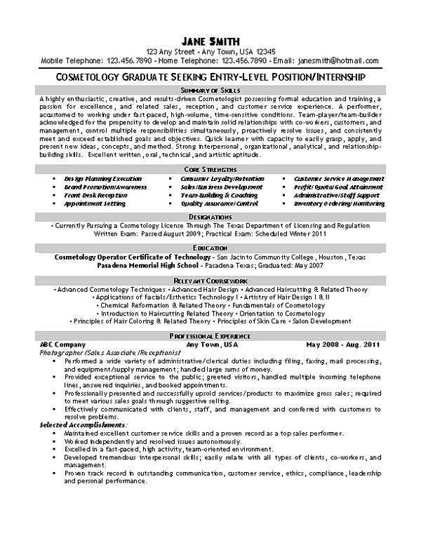 beautician cosmetologist resume example recent graduate summary exbc27 cosmetology Resume Recent Graduate Summary Resume