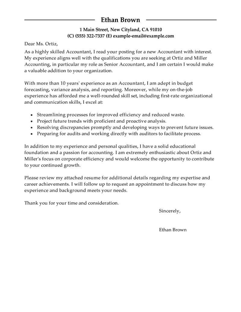 best accountant cover letter examples livecareer accounting resume and samples finance Resume Accounting Resume And Cover Letter Samples