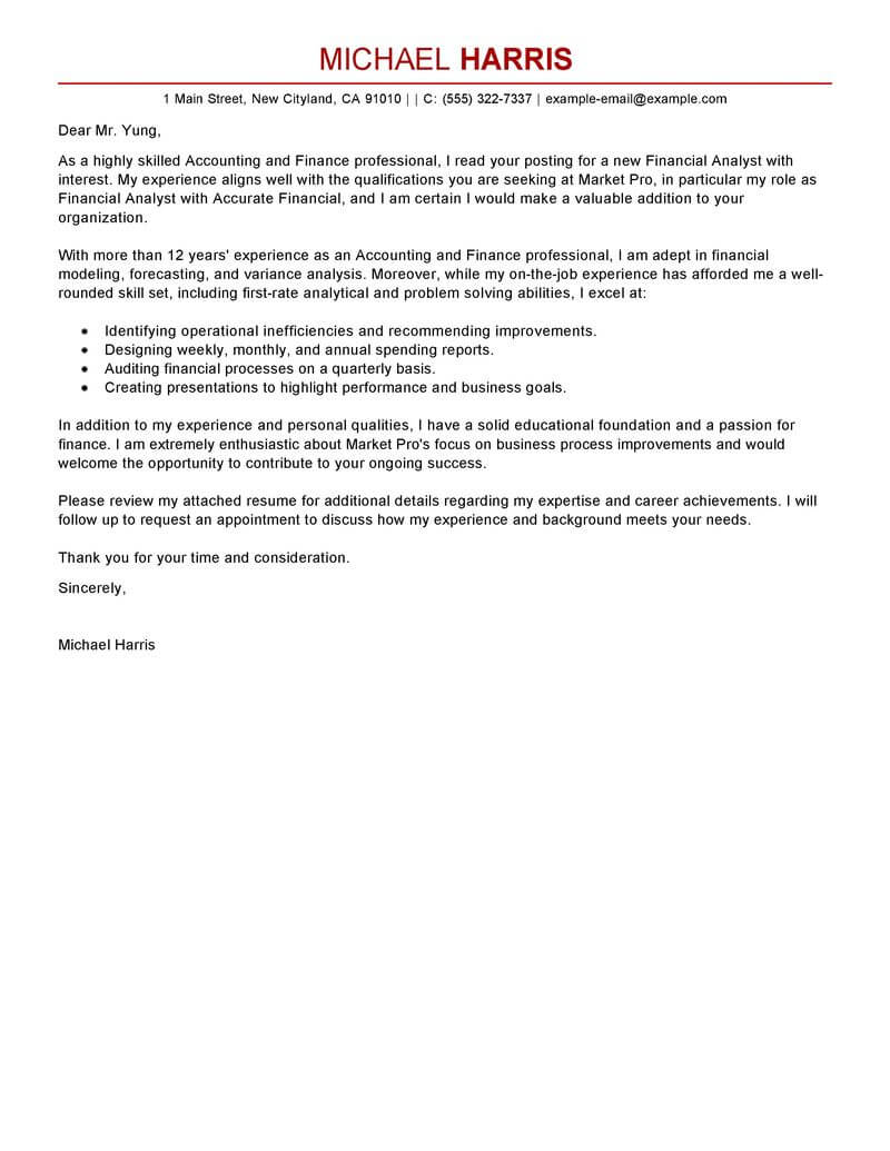 best accounting finance cover letter examples livecareer resume and samples modern Resume Accounting Resume And Cover Letter Samples