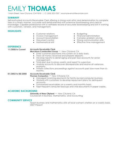 best accounts receivable clerk resume example livecareer summary examples accounting Resume Accounts Receivable Resume Summary Examples
