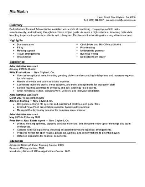 best administrative assistant resume example from professional writing service good Resume Good Summary For Resume For Administrative Assistant