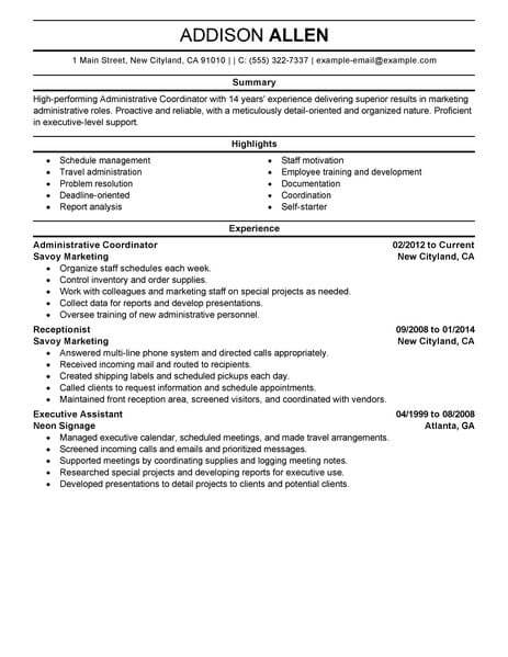best administrative coordinator resume example livecareer project indeed office support Resume Project Coordinator Resume Indeed