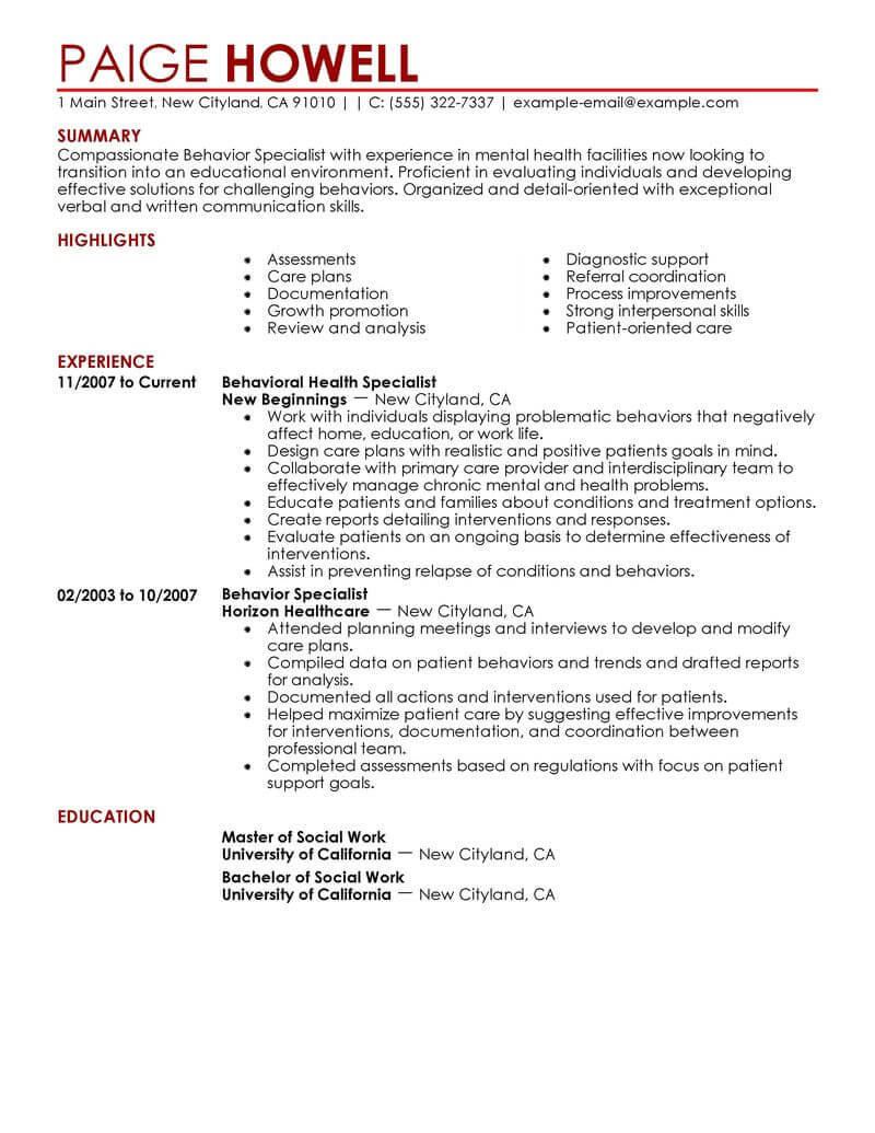 best behavior specialist resume example livecareer strong skills for social services Resume Strong Skills For Resume