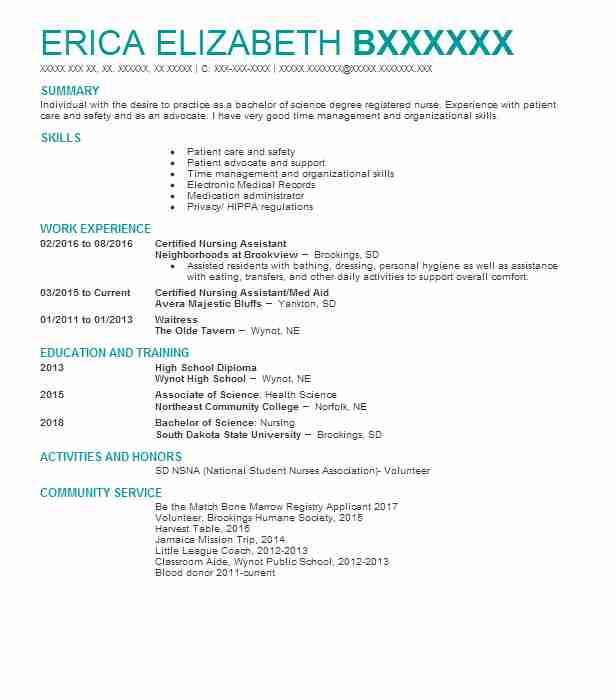 best certified nursing assistant resume example livecareer cover letter template for Resume Certified Nursing Assistant Resume