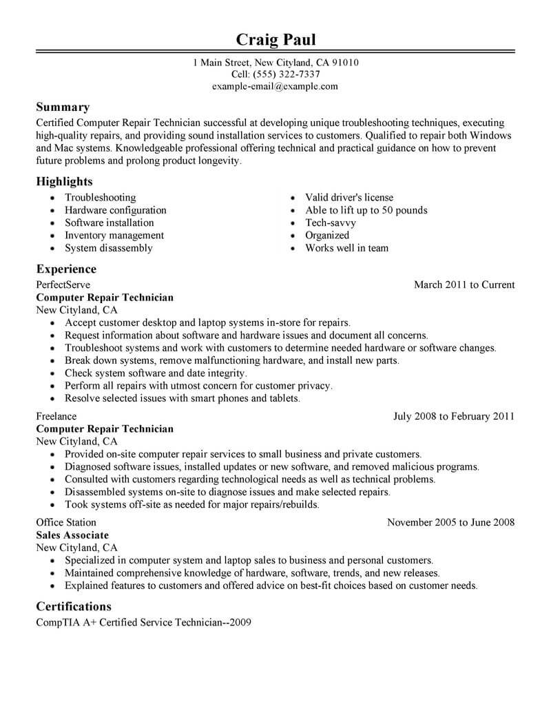 best computer repair technician resume example livecareer objective computers technology Resume Computer Resume Objective