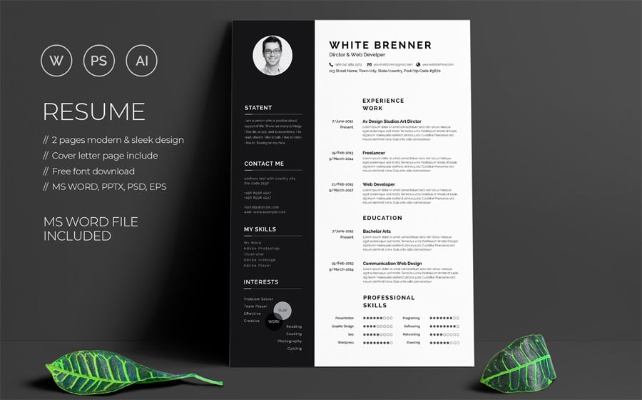 best creative resume cv templates printable template free minimal brenner for military Resume Resume Template 2020 Free Download