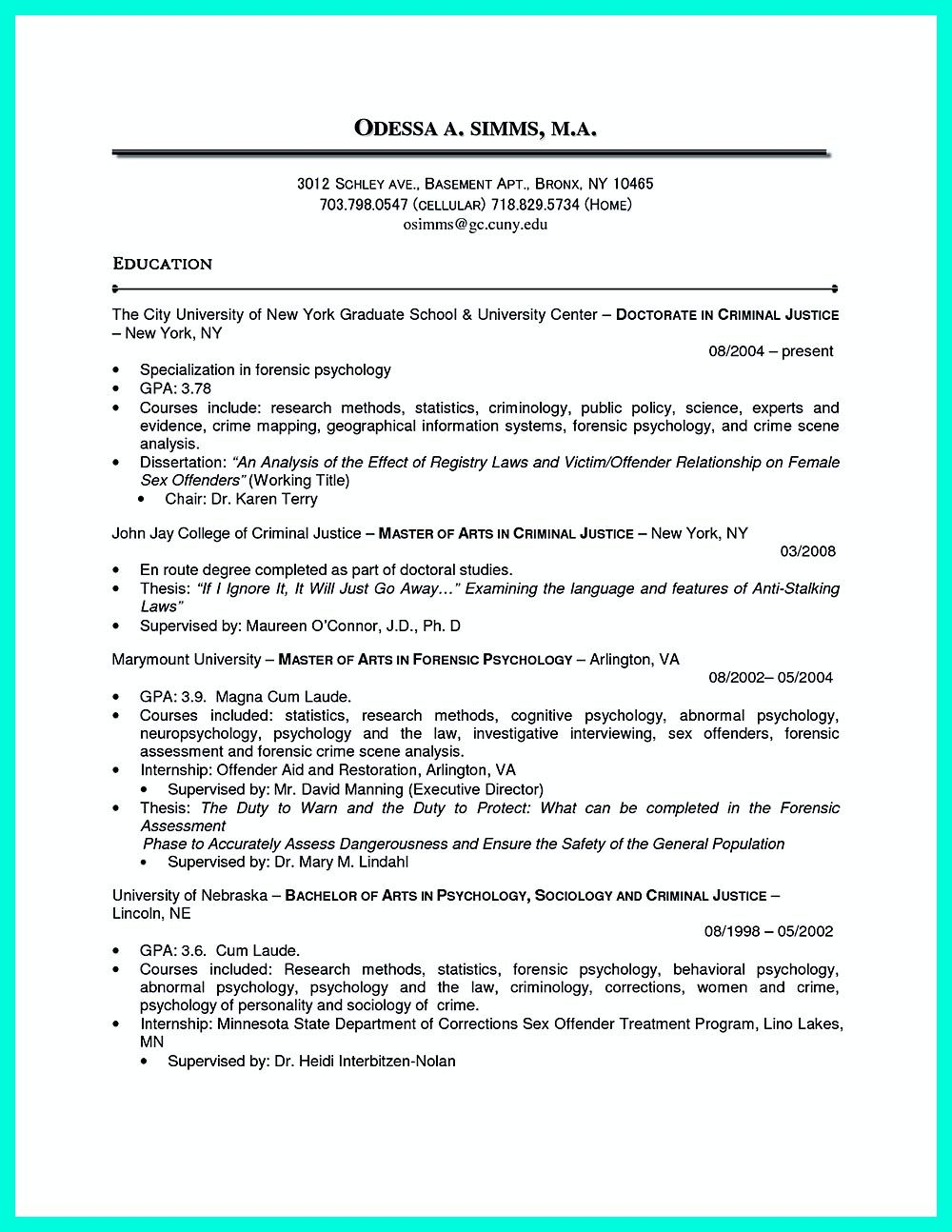best criminal justice resume collection from professionals chronological examples Resume Criminal Justice Resume Objective
