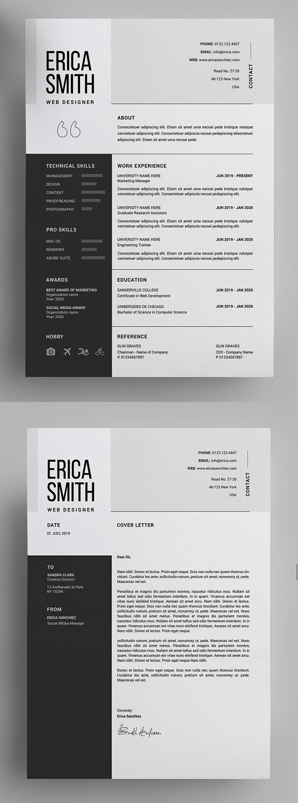 best cv resume templates with cover letter design graphic junctiongraphic junction Resume Professional Resume Letterhead
