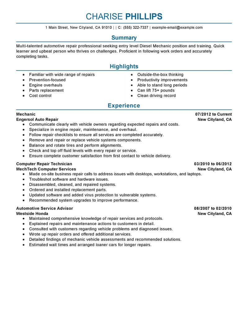 best entry level mechanic resume example livecareer template for position installation Resume Resume Template For Entry Level Position