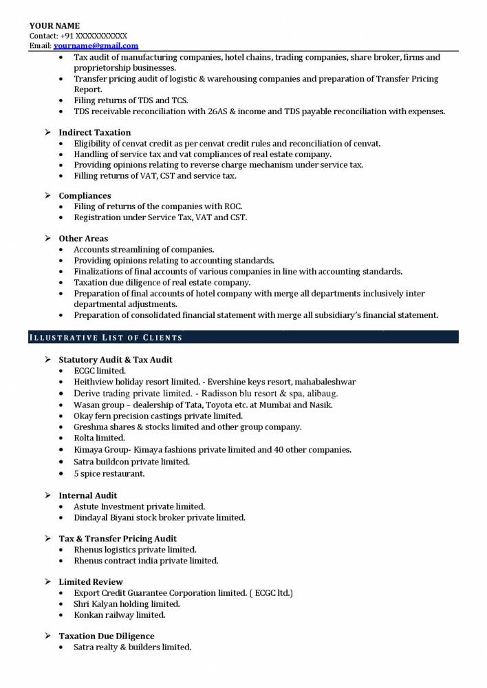 best experienced resume sample charted accounts samples projects now of chartered Resume Resume Of Experienced Chartered Accountant