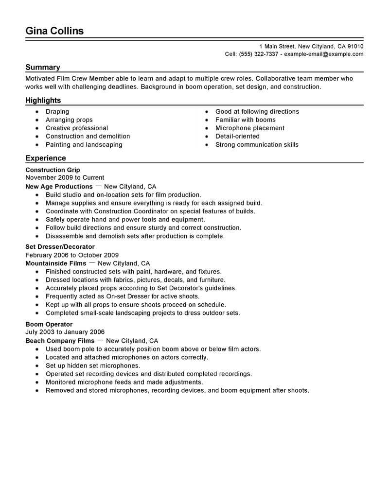 best film crew resume example livecareer sample media entertainment traditional objective Resume Film Crew Resume Sample