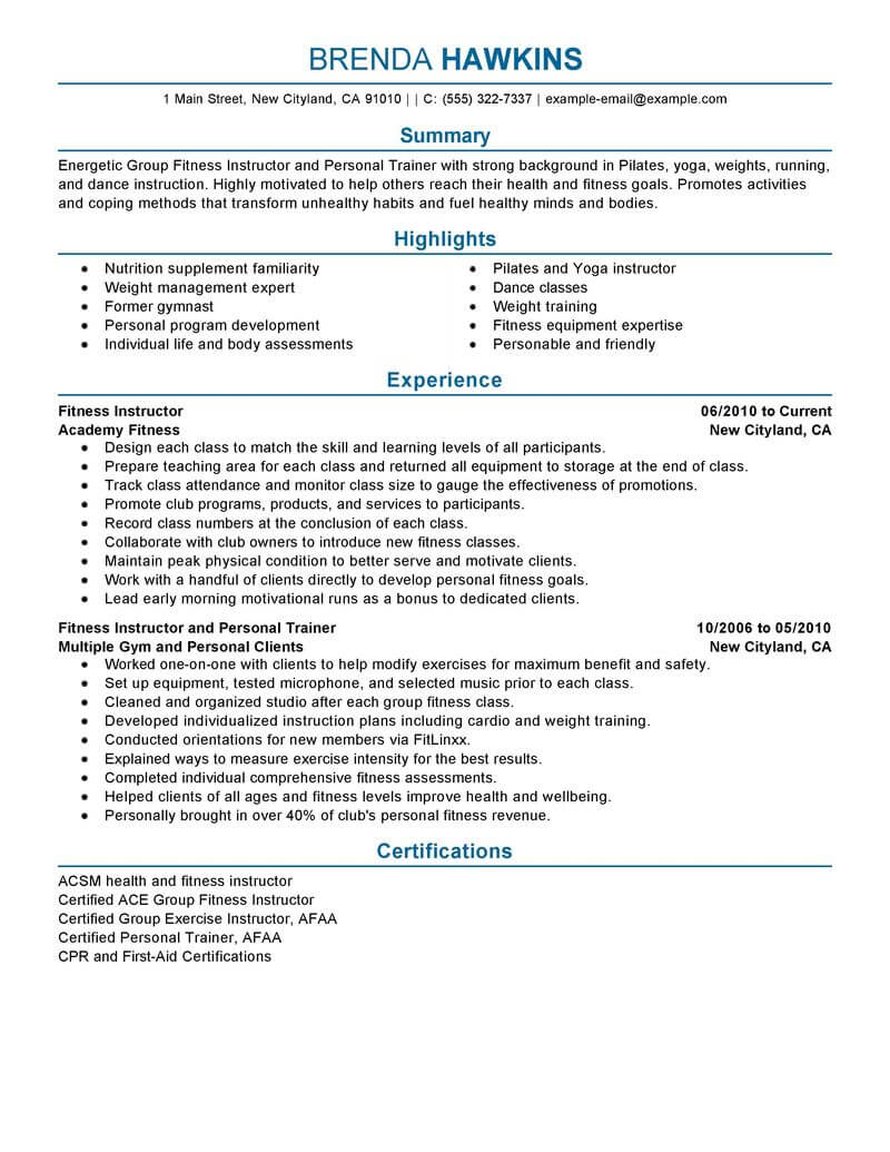 best fitness and personal trainer resume example livecareer for gym job care services Resume Resume For Gym Trainer Job