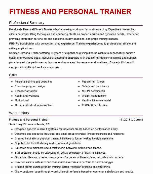 best fitness and personal trainer resume example livecareer for gym job court services Resume Resume For Gym Trainer Job
