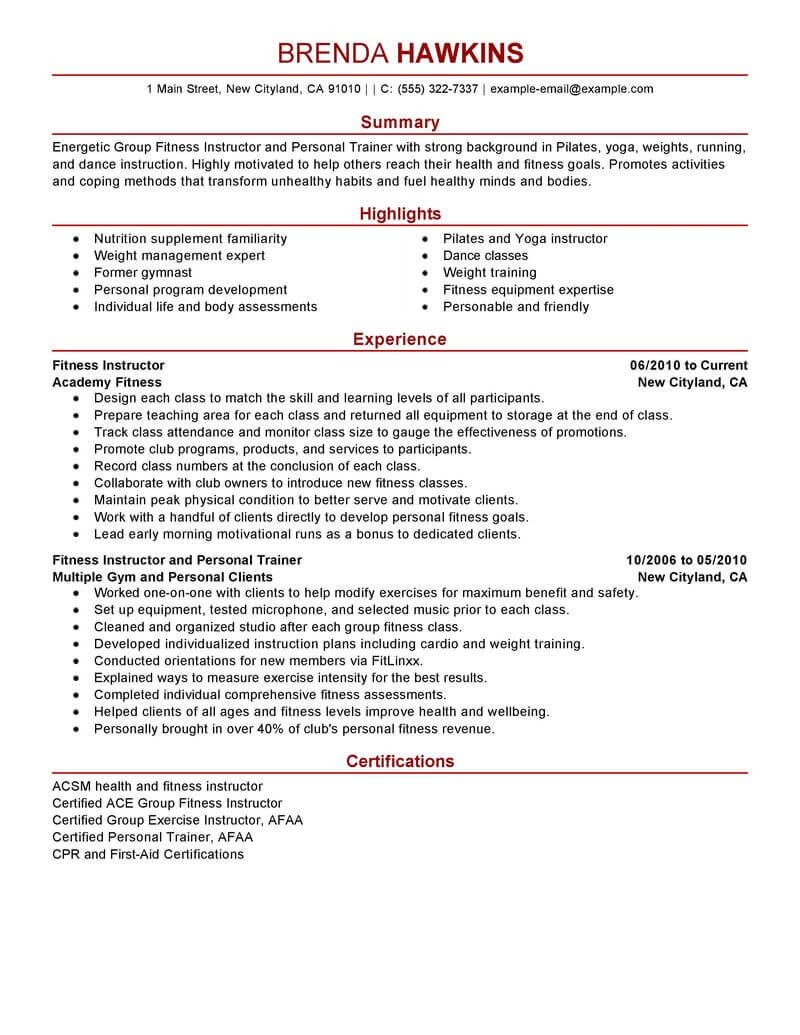 best fitness and personal trainer resume example livecareer profile examples care Resume Personal Profile Resume Examples