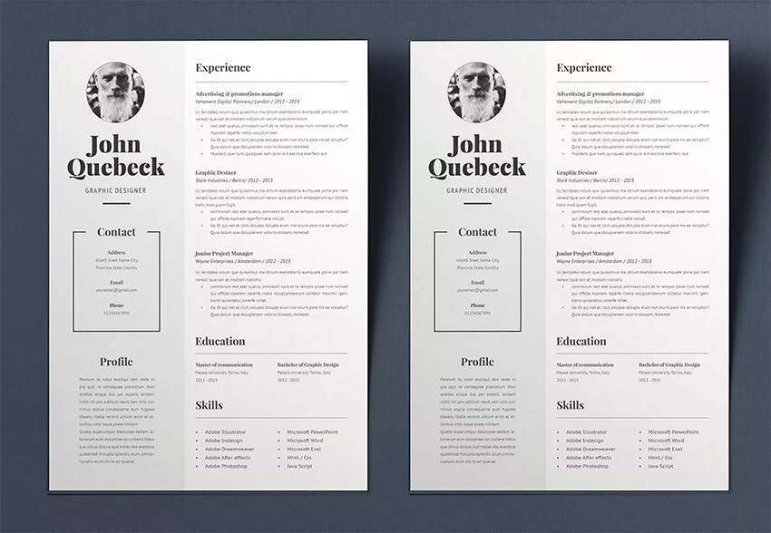 best in professional resume cv design templates cool modern adobe core functional john Resume Adobe Core Functional Resume