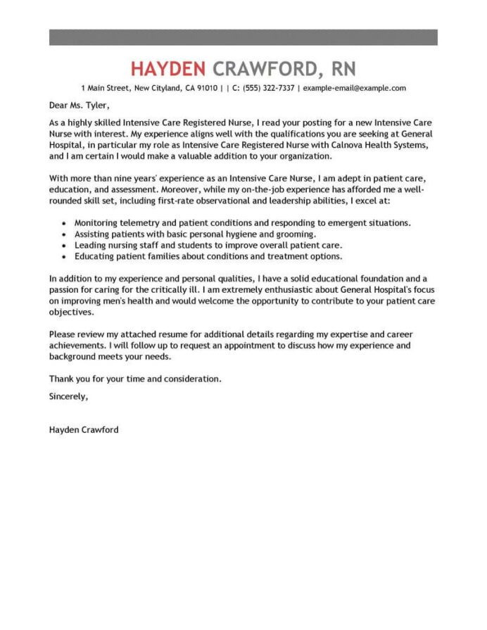 best intensive care nurse cover letter examples livecareer clinical dietitian resume Resume Clinical Dietitian Resume Cover Letter