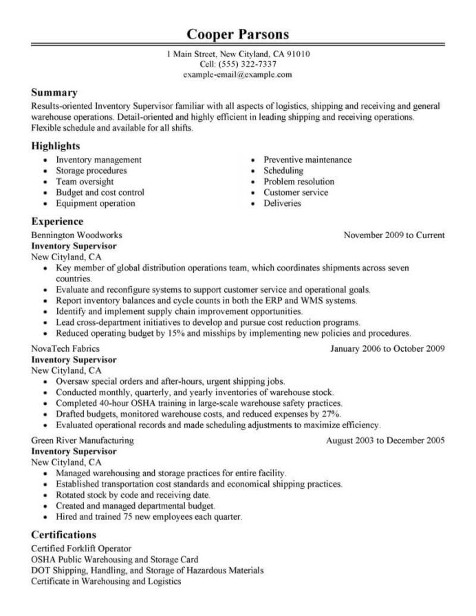 best inventory supervisor resume example livecareer objective for production classic Resume Objective For Resume For Supervisor