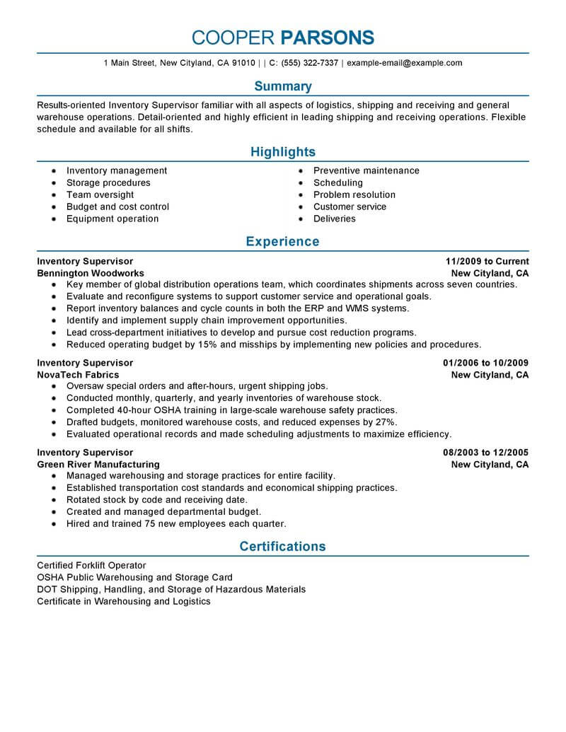 best inventory supervisor resume example livecareer warehouse production professional Resume Warehouse Supervisor Resume