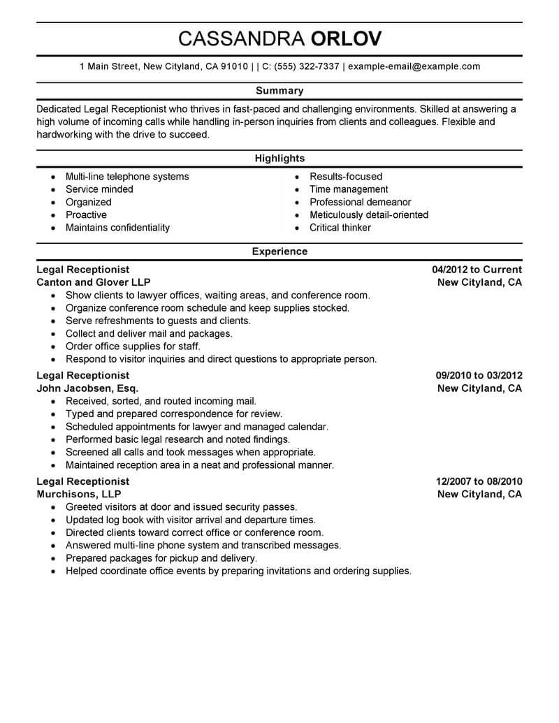 best legal receptionist resume example livecareer entry level professional good format Resume Entry Level Receptionist Resume