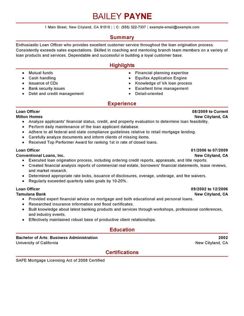 best loan officer resume example livecareer business finance modern paramedic free Resume Business Loan Resume Example