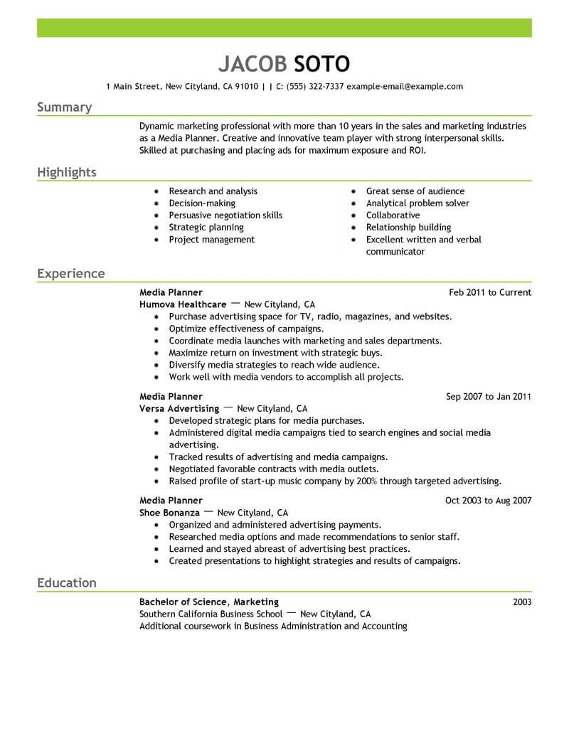 best media planner resume example livecareer successful examples marketing emphasis Resume Successful Resume Examples