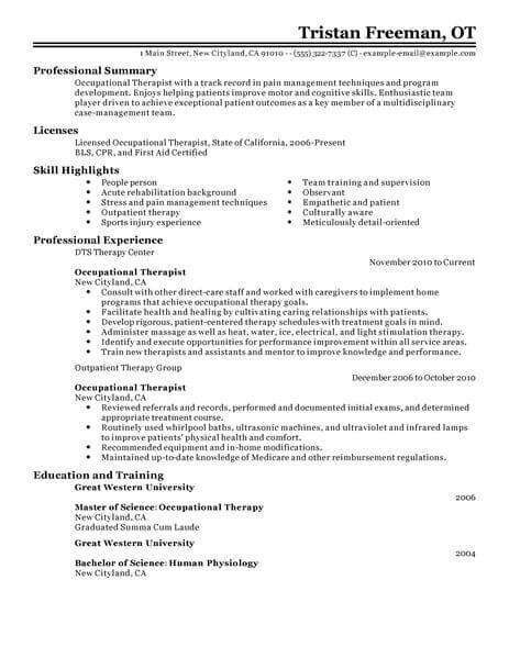 best occupational therapist resume example livecareer therapy graduate school healthcare Resume Occupational Therapy Graduate School Resume