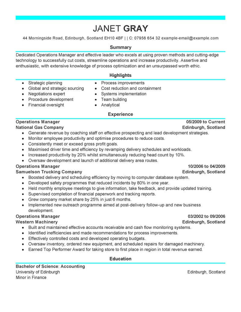 best operations manager resume example livecareer management modern workshop housekeeping Resume Operations Manager Resume