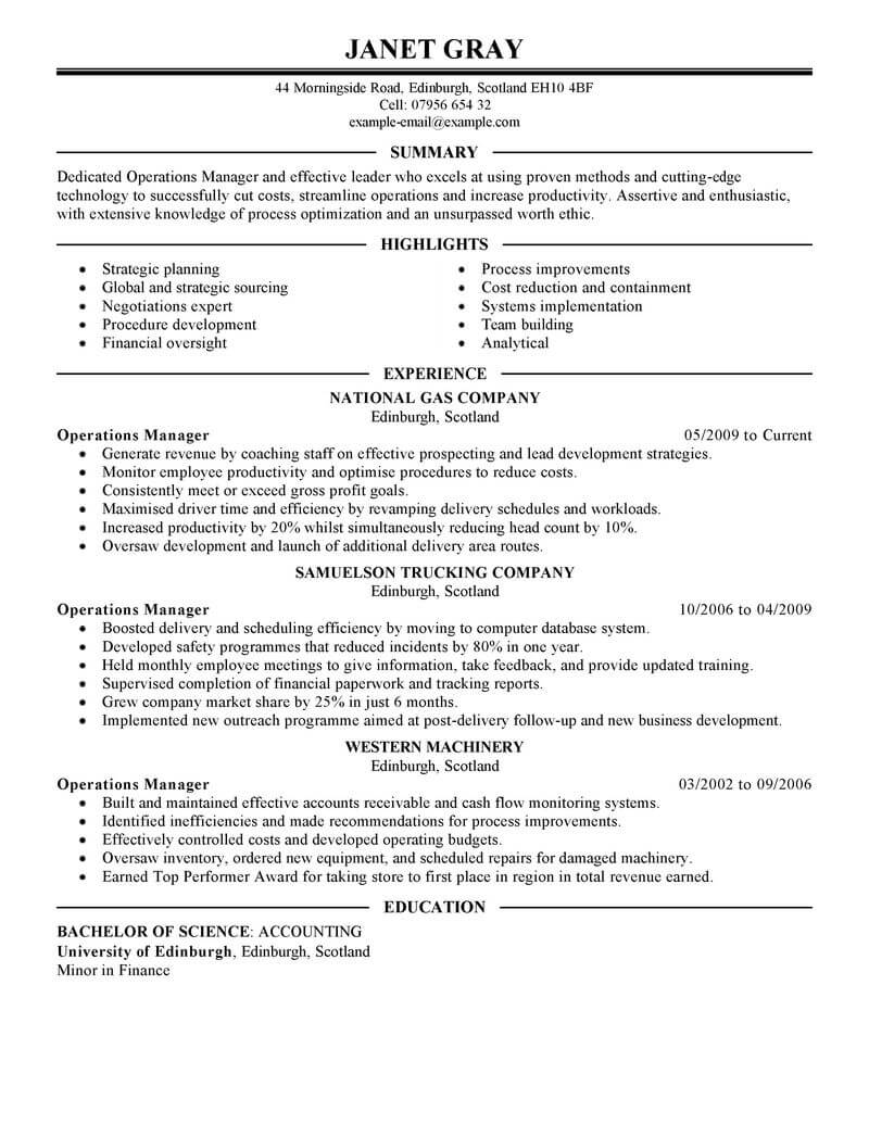 best operations manager resume example livecareer people management executive vita Resume People Operations Resume