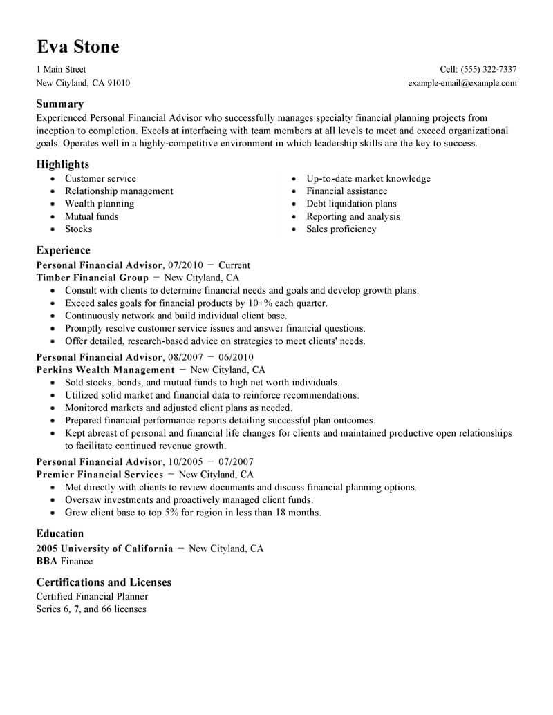 best personal financial advisor resume example livecareer services finance standard star Resume Financial Services Resume
