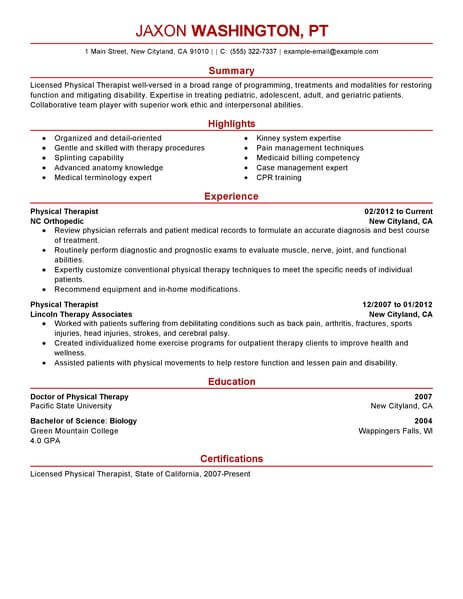 best physical therapist resume example livecareer sample therapy healthcare modern Resume Sample Physical Therapy Resume