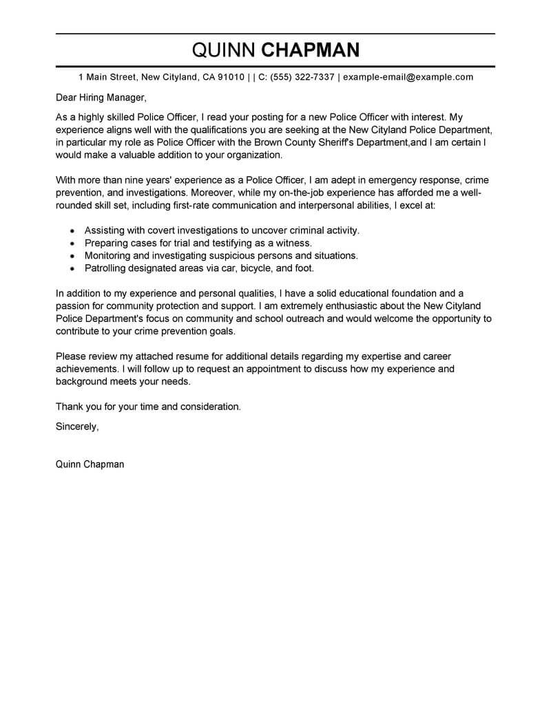 best police officer cover letter examples livecareer law enforcement resume template Resume Law Enforcement Resume Template Microsoft Word