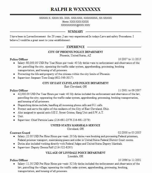 best police officer resume example livecareer objective samples border patrol template Resume Police Resume Objective Samples