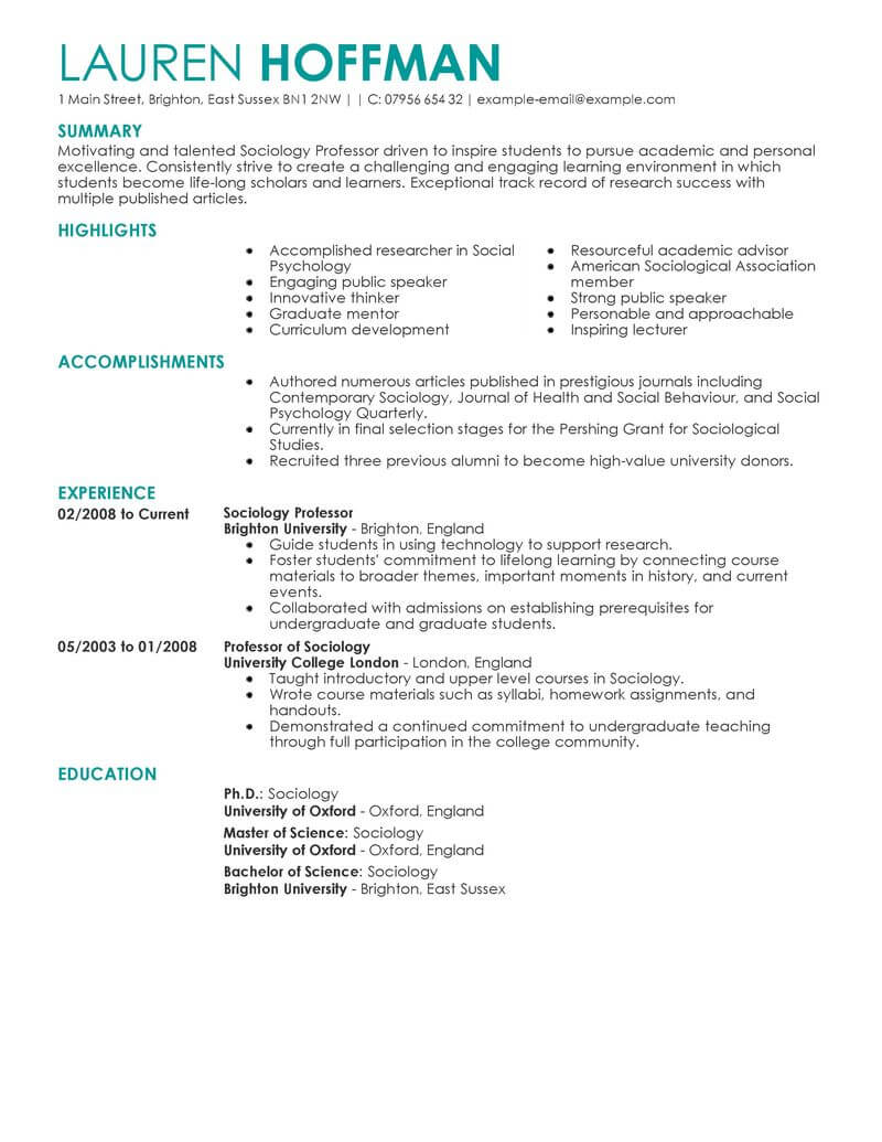 best professor resume example livecareer college education contemporary sample cover Resume College Professor Resume