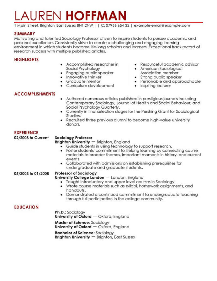 best professor resume example livecareer template for education contemporary hair salon Resume Resume Template For Professor